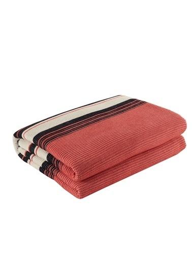 Eponj Home Battaniye Çift Kişilik Çizgili Kırmızı Kırmızı